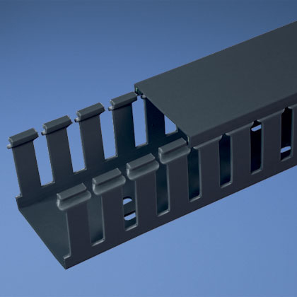 Mayer-Panduct® type G wide slot wiring duct, 2 W x 4 H, 6' length, PVC, black.-1
