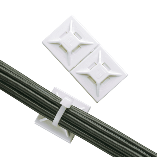 """The 4-way adhesive backed cable tie mount in white is mounted with user supplied adhesive. It is 0.75"""" long x 0.75"""" wide (19.1 x 19.1 mm) and made of ABS plastic. It is used with miniature and intermediate cable ties. It is designed for indoor environment"""