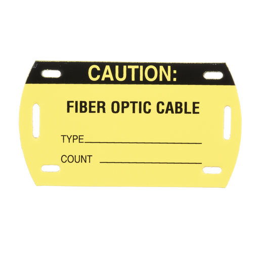"Mayer-The PST-FO Self-Laminating Fiber Optic Cable Marker Tag is manufactured using rigid vinyl and provides identification in environments where adhesives will not work. The rugged, high-quality material is resistant to abrasion and rated for indoor/outdoor use. Self-laminating, pre-printed with ""CAUTION/FIBER OPTIC CABLE/TYPE_____/COUNT_____"". Rated for use up to 176°F (80°C). 3.56"" x 2.06"" (90.42 mm x 52.32 mm) Color Black/Yellow. 5 tags per package. 1 piece package quantity.-1"