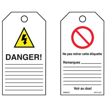 "ISO symbol safety tag, 3.00"" W x 5.75"" H, 'Danger' (legend) with 'Warning of dangerous electrical voltage' symbol, semi-rigid vinyl, red and black/white, 5 tags and ties/package."