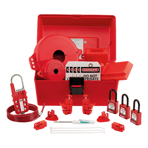 """Mayer-MRO Lockout Kit: (1) Screwdriver(1) PSL-BX carrying case - 6.5"""" x 5.0"""" x 14.5"""" (165mm x 127mm x 368mm)(3) PSL-8 red non-conductive padlocks (1) PSL-MLD multiple lockout device (2) PSL-WS wall switch lockouts (2) PSL-PCBNT PowerLOK circuit breaker lockout device (2) PSL-P plug lockouts (1) PSL-V6A gate valve lockout - 6.5"""" (165mm)(1) PSL-V2A gate valve lockout - 2.5"""" (64mm)(1) PSL-BV2 ball valve lockout - 3.0"""" (76mm)(1) PSL-CL110 110V plug lockout(10) PVT-44 """"DO NOT OPERATE"""" maintenance tags-1"""