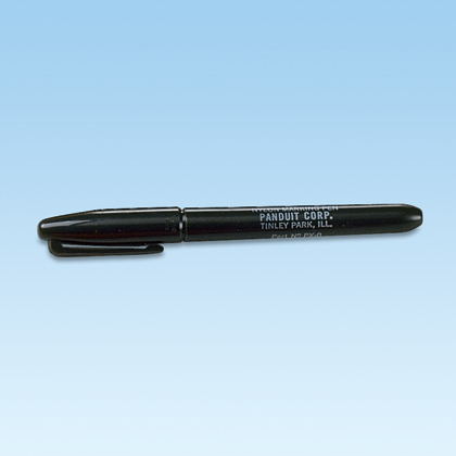 Permanent marking pen, regular tip, black.