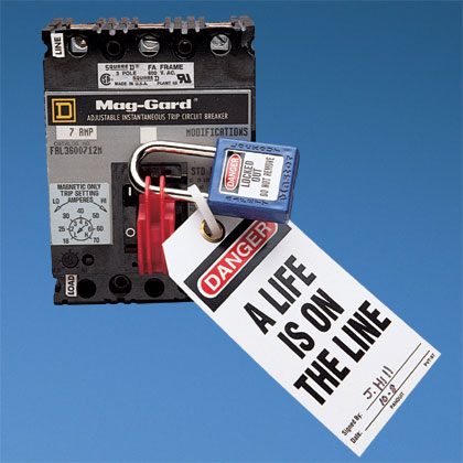 Circuit breaker lockout device for use with Square D I-LINE^/Federal Pacific (FPE) circuit breakers.