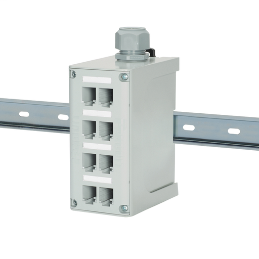 "Mayer-The IndustrialNet™ 8-port DIN Rail Fiber Optic Patch Panel provides fiber protection for terminated distribution style cabling. It can be mounted to a standard 35mm DIN rail and locked in place with adjustable latches, which are designed to allow it to mount on a flat surface. This DIN rail mount enclosure includes a PG21 or 3/4"" NPT cable cord grip to secure fiber cables exiting the enclosure. It features a removable faceplate with four label pockets, labels, and covers for port identification.-1"