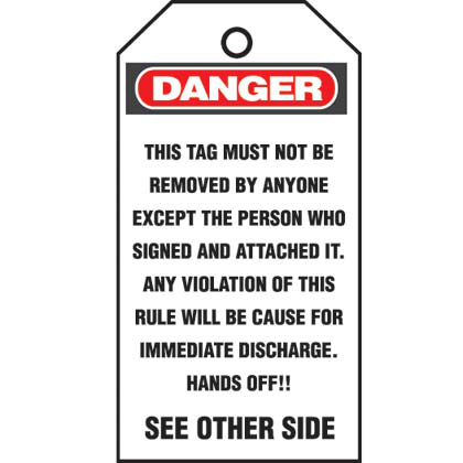 "Self-laminating photo tag, 3.00"" W x 5.75"" H, danger header, 'Do not operate…' (legend), semi-rigid vinyl with polyester, red/black/white, 5 tags package quantity."