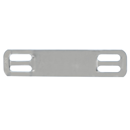 "Mini marker plate, four holes, 316 Stainless Steel, 1.72"" x .38""."