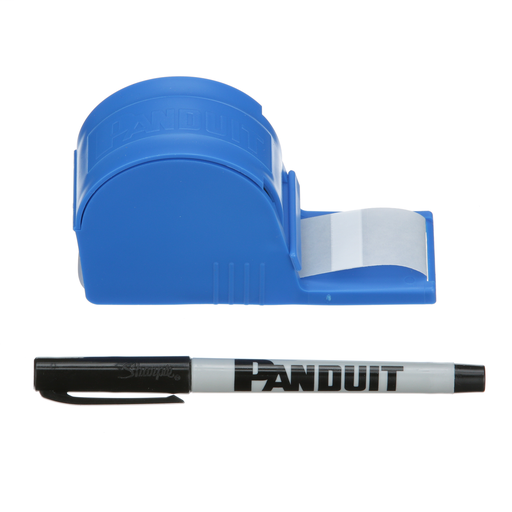 StrongHold S100X125VARY Blank Self-Laminating Write-On Cable Marker Tape Dispenser Kit is quick and easy to use. This handy dispenser protects labels when not in use. Kit includes dispenser, one roll of blank cable markers and a Panduit PFX-0 pen. Labels