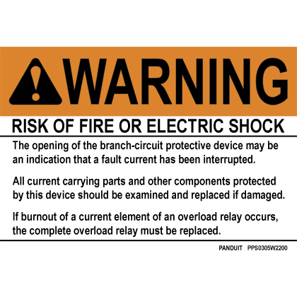 "Polyester adhesive sign, 3.5"" H x 5.0"" W, warning header, 'Risk of fire or electric shock..' (legend), polyester adhesive, black and orange/white, 1 sign/card, 5 cards/package."