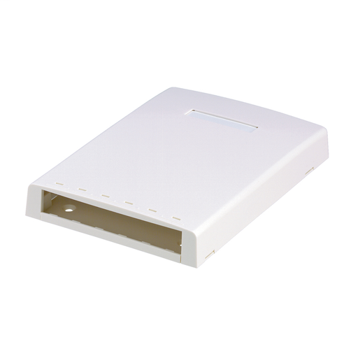 Mayer-Mini-Com® surface mount box accepts six Mini-Com® Modules. Includes built-in fiber spool. Supplied with mounting screws, adhesive backing, cable ties and label holder/screw cover. Electric Ivory.-1