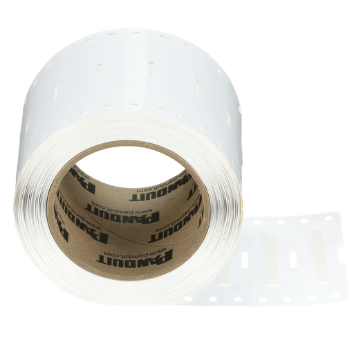 The H100X025H1T Military-Grade Polyolefin Heat-Shrink Label is single-sided printable. It offers crisp, clear legends with superior readability for quick and easy label production. The heat-shrink sleeve is designed to provide a clear, reliable, and durab