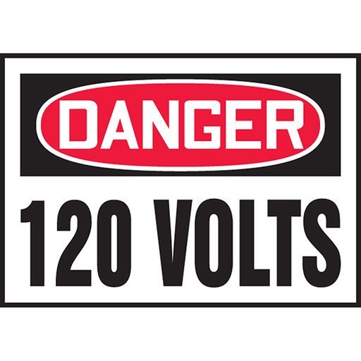 """Safety Label, 3.50"""" x 5.00"""", DANGER 120 VOLTS, Outdoor Durability 2 years"""