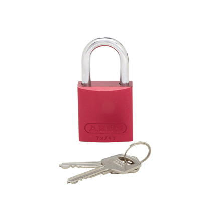 "Mayer-Aluminum body padlock, 1.06"" shackle, red.-1"