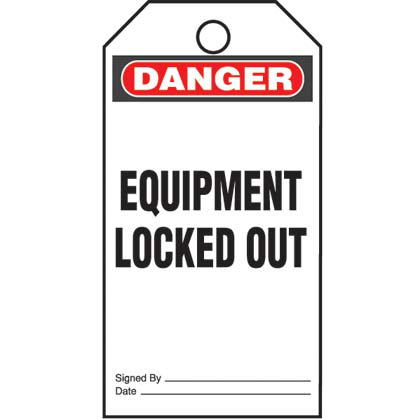 "Write-on safety tag, 3.00"" W x 5.75"" H, danger header, 'Equipment locked out' (legend), semi-rigid vinyl, red and black/white, 5 tags and ties/package."