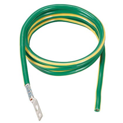 "One 180"" length #6 AWG green wire with yellow horizontal stripe. Jumper is pre-terminated on one end with LCC6-14JAW-L."