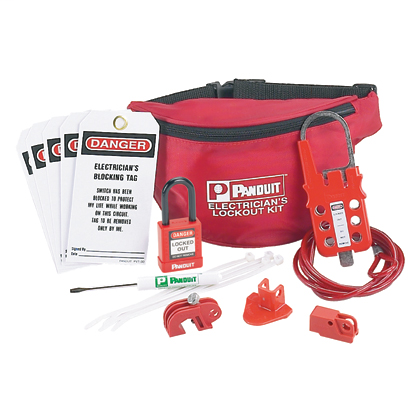"""Mayer-Electrician's Lockout Kit: (1) Screwdriver, (1) PSL-PK pouch, (1) PSL-8 red non-conductive padlock, (1) PSL-MLD multiple lockout device, (1) PSL-WS wall switch lockout device, (1) PSL-CBNT """"No Tool"""" circuit breaker lockout device, (1) PSL-P plug lockout device, (5) PVT-30 electrician's blocking tags.-1"""