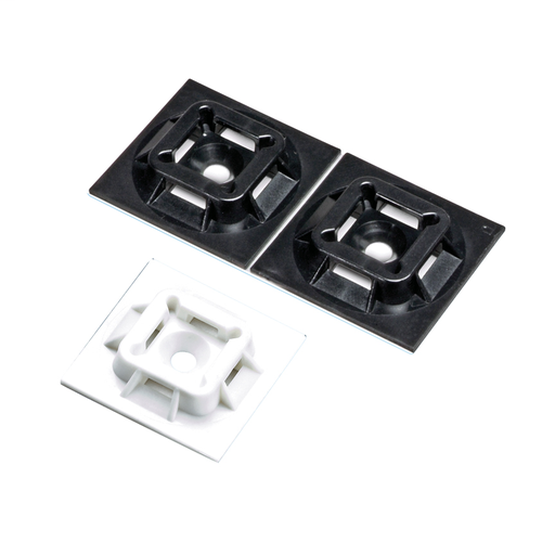 """The 4-way adhesive backed cable tie mount in white is mounted with acrylic adhesive tape. It is 1"""" long x 1"""" wide (25.4 x 25.4 mm) and made of nylon 6.6, which increases mechanical strength, heat and wear resistance, and stiffness. It is used with cable m"""