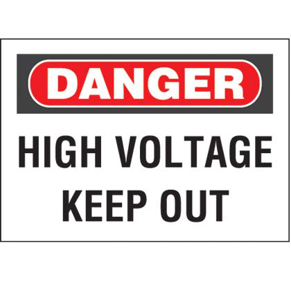 "Polyester adhesive sign, 7.0"" H x 10.0"" W, danger header, 'High voltage keep out' (legend), polyester adhesive, red and black/white, 1 sign/card, 5 card/package."