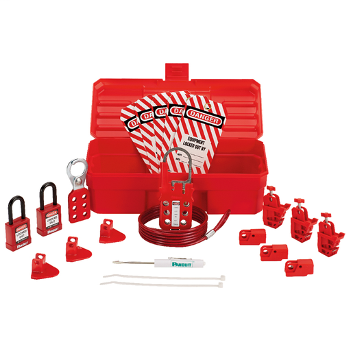 """Mayer-Contractor Lockout Kit: (1) Screwdriver (1) PSL-KT carrying case - 5.0"""" x 3.5"""" x 11.0"""" (127 x 89 x 279mm)(6) PSL-8 red non-conductive padlocks (1) PSL-1A lockout hasp - 1.0"""" (25mm) jaw diameter (1) PSL-MLD multiple lockout device(3) PSL-WS wall switch lockouts(3) PSL-PCBNT PowerLOK circuit breaker lockout device(3) PSL-P plug lockouts(15 Tags) PVT-98 """"EQUIPMENT LOCKED OUT BY..."""" safety tags-1"""