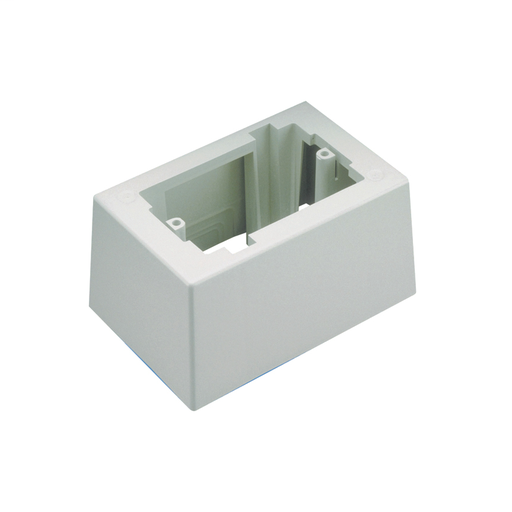 Mayer-Single gang one-piece deep outlet box with adhesive backing. Box accepts Pan-Way® Screw-On Faceplates or any NEMA standard single gang faceplate. For use with Pan-Way® LD profile raceway. 5.23in L x 3.48in W x 2.75in H (133.0mm x 88.5mm x 69.8mm). Breakouts for 1/2in, 3/4in , or 1in diameter conduit, Electric Ivory.-1