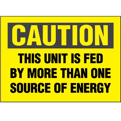 """Polyester adhesive sign, 3.5"""" H x 5.0"""" W, caution header, 'This unit is fed by more than one source of energy' (legend), polyester adhesive, black/yellow, 1 sign/card, 5 cards/package."""