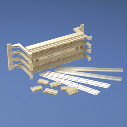 Category 5e system kit includes one 100-pair base with legs, twenty 4-pair connecting blocks, four 5-pair connecting blocks, two label and label holders.