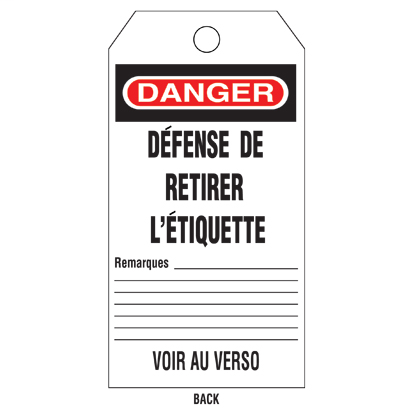 """Write-on safety tag, 3.00"""" W x 5.75"""" H, danger header, 'Do not open valve..' (legend), semi-rigid vinyl, red and black/white, 25 tags and ties/package."""