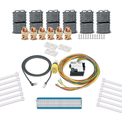 VeriSafe Absence of Voltage Tester retrofit kit. Includes AVT device with 10ft. sensor leads, 2ft. and 8ft. system cable, Split Bolt Connection Kit 8-4AWG power connectors, (12) cable ties, (6) cable ties mounts, (1) wire marker.
