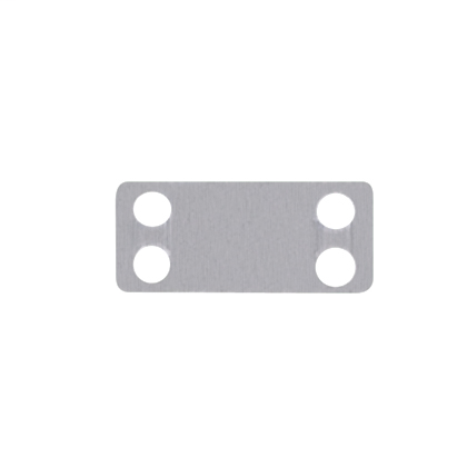 "Marker plate, four holes, 316 Stainless Steel, 1.72"" x .75""."