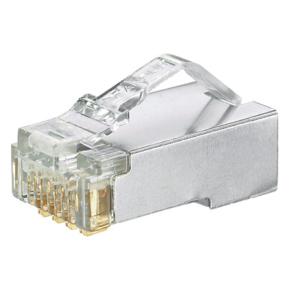 The shielded Cat 5e modular plug terminates 4-pair, 24-26 AWG, 100 ohm, solid or stranded, shielded twisted pair cable with maximum conductor insulation diameter of 0.040 inches (1.02mm). The modular plug has a robust construction that is rated to 2500 ma