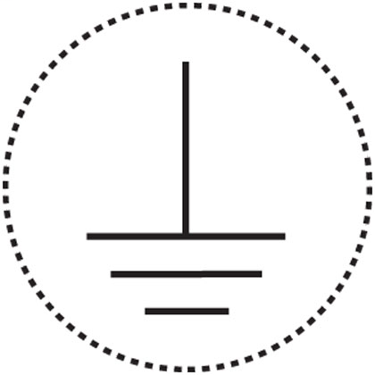 """Conductor identification label, 0.49"""" (12.50mm) marker diameter, Earth (ground) symbol, polyester adhesive, black/white, 20 labels/card, 10 cards/package. Dotted line represents cut line and will not show on label."""