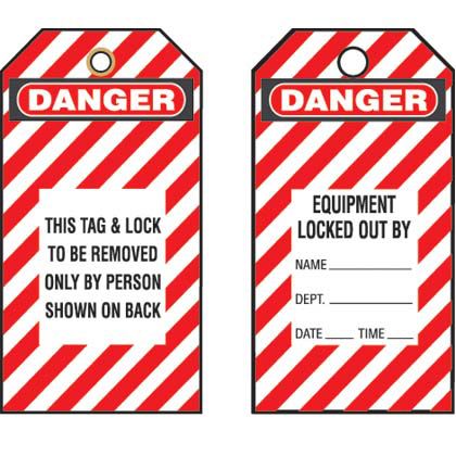 "Write-on safety tag, 3.00"" W x 5.75"" H, danger header, 'This tag & lock to be removed only by person shown on back' (legend), semi-rigid vinyl, red striped and black/white, 5 tags and ties/package."