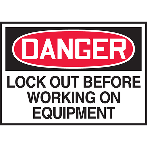 """Safety Label, 3.50"""" x 5.00"""", DANGER LOCK OUT BEFORE WORKING ON EQUIPMENT, Outdoor Durability 2 years"""
