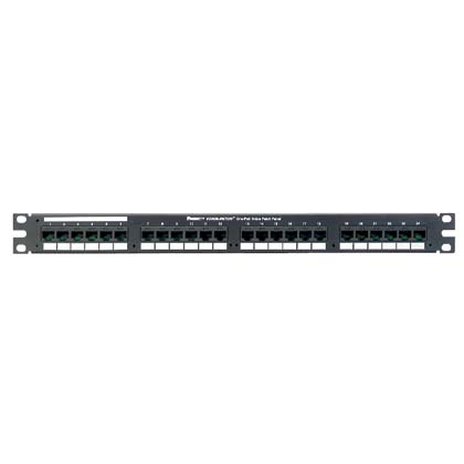 Mayer-24-port RJ45-to-RJ21 flat voice patch panel in black has 24 RJ45 ports wired to one RJ21 telco connector, (1 RU).-1