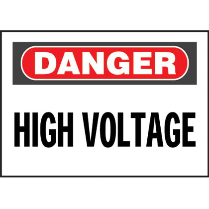 "Vinyl adhesive sign, 7.0"" H x 10.0"" W, danger header, 'High voltage' (legend), vinyl adhesive, red and black/white, 1 sign/card, 1 card/package."