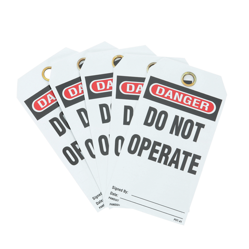 "Write-on safety tag, 3.00"" W x 5.75"" H, danger header, 'Do not operate' (legend), semi-rigid vinyl, red and black/white, 5 tags and ties/package."