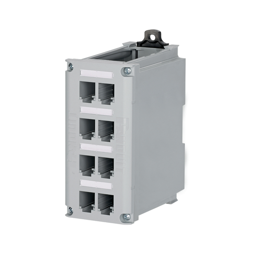 Mayer-The IndustrialNet™ Copper DIN Rail Patch Panel is constructed of high impact polycarbonate material. This 8-port DIN rail patch panel mounts to a standard 35mm DIN rail and includes adjustable latches to lock in in place. The Copper DIN Patch Panel can be used with any Mini-Com® Module that occupies a single space. This DIN rail patch panel includes screws to attach faceplate and Ultimate ID® Labels to identify each port, as well as clear label covers.-1