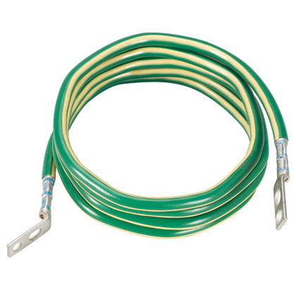 One 168 length #6 AWG green wire with yellow horizontal stripe. Jumper is pre-terminated on one end with LCC6-14JAWH-L and the other end with LCC6-14JAW-L.