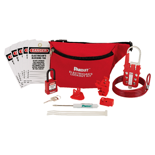 Mayer-Electrician's Lockout Kit: (1) Screwdriver, (1) PSL-PK pouch, (1) PSL-8 red non-conductive padlock, (1) PSL-MLD multiple lockout device, (1) PSL-WS wall switch lockout device, (1) PSL-PCBNT PowerLOK No Tool circuit breaker lockout device, (1) PSL-P plug lockout device, (5) PVT-30 electrician's blocking tags.-1