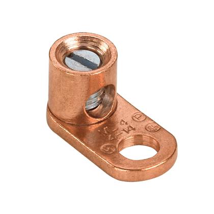 Mayer-One-hole, copper, single barrel post lug, straight tongue, #6 STR - 250 kcmil, 3/8 (9.5mm) stud hole.-1