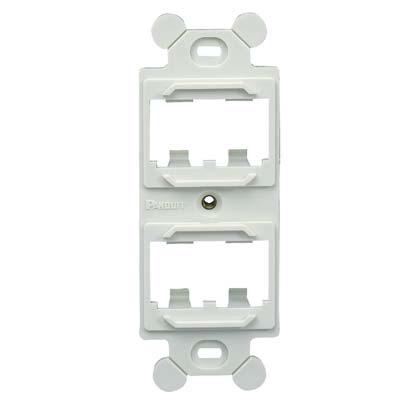 Mayer-Mini Com duplex adapter, mounts behind standard 106 NEMA faceplates, accepts four Mini-Com® Modules, Black.-1