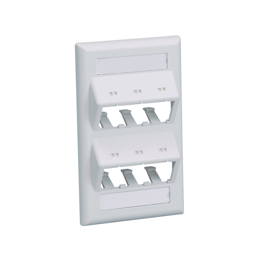 Mayer-Mini Com Classic series single gang sloped vertical faceplate accepts six Mini-Com® Modules, includes label and label cover. Off White-1