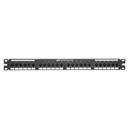 Mayer-Cat 6 Punchdown Patch Panel, 24 Ports, 1 RU, Black-1