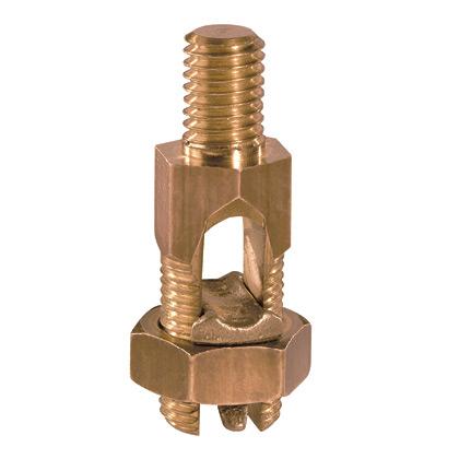 "Bronze, service post connectors, #8 SOL-#7 STR, stud length 1.00"",male, one cable, type SP1."