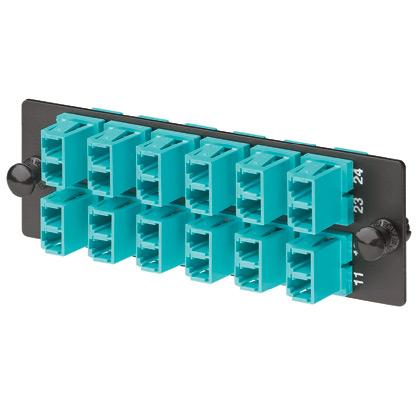 Mayer-LC Fiber Adapter Panel, OM3/OM4, LC Duplex, Aqua-1