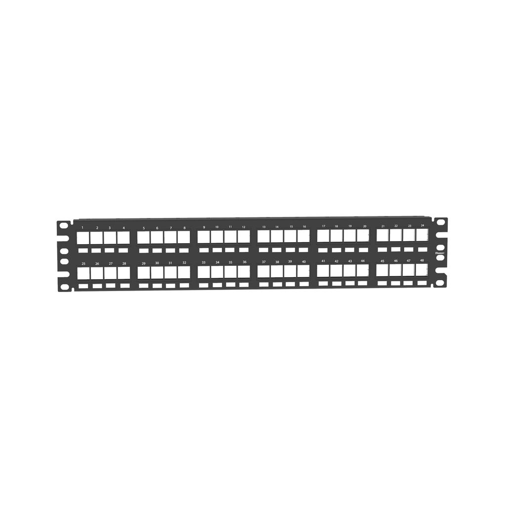 Mayer-NetKey® Flush Patch Panel, 48 Port, 2 RU, BL-1
