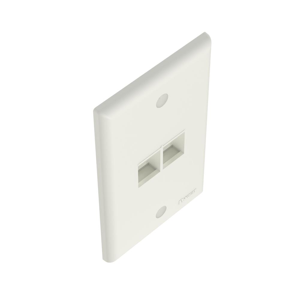 Mayer-NetKey® Faceplate, 2 Port, Off White-1
