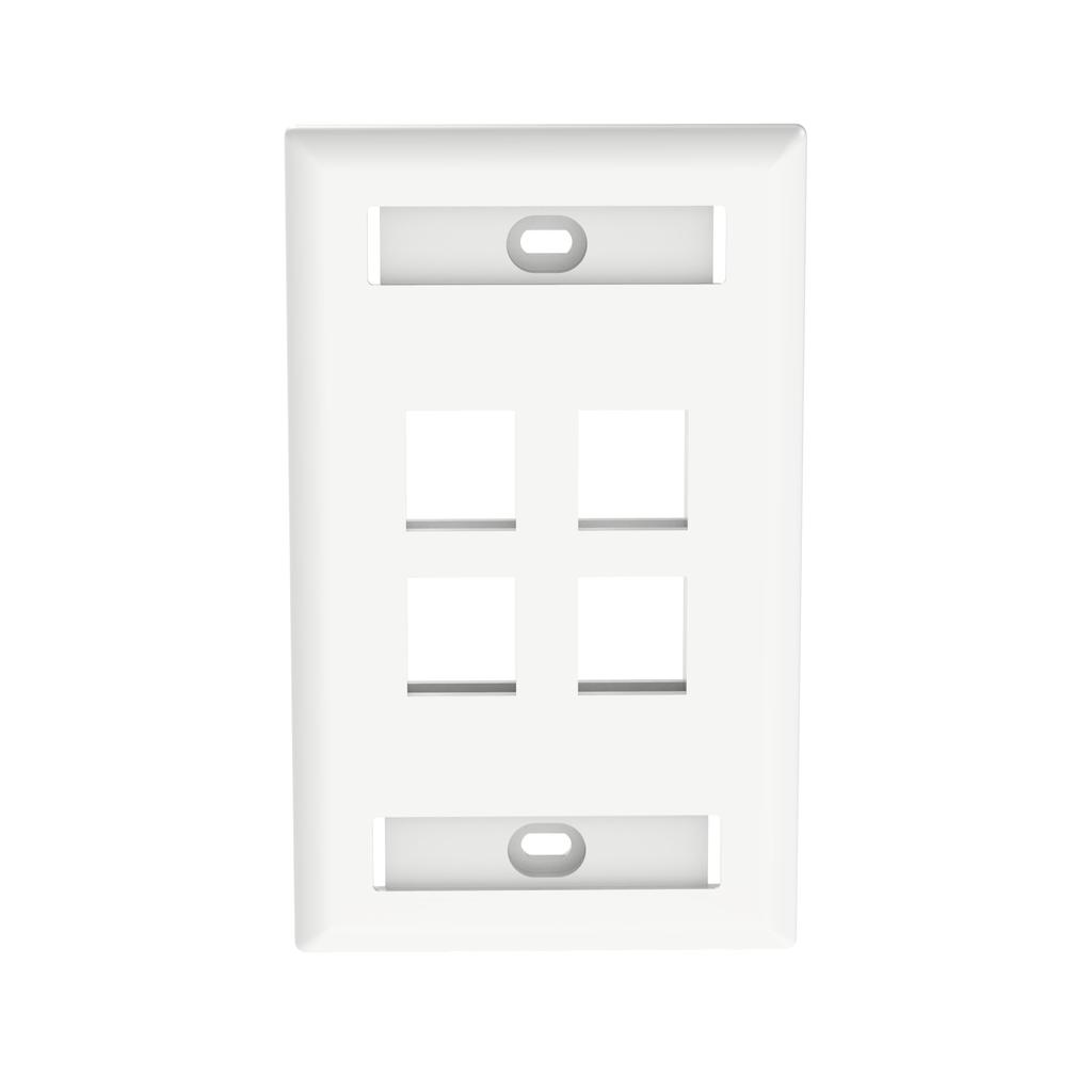 Mayer-NetKey® Faceplate, Label Pocket, 4 Port, White-1