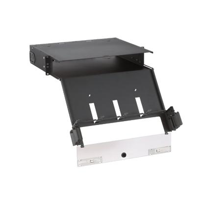 Mayer-Opticom® Rack Mount Fiber Enclosure, Black, 2 RU, 8 Ports-1