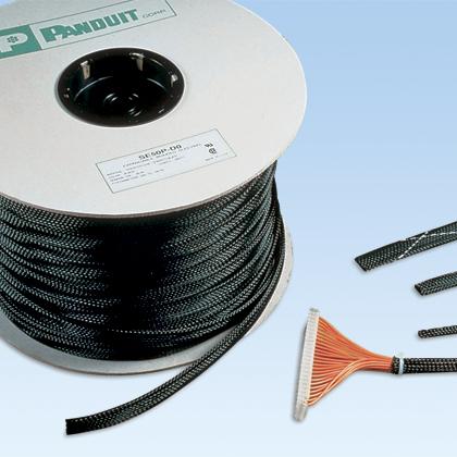 "Panduit SE75P-CR0 Braided Sleeving,Black,0.75""x100'"