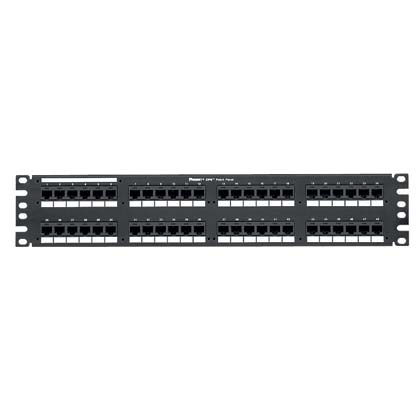 Mayer-Cat 6 Punchdown Patch Panel, 48 Ports, 2 RU, Black-1